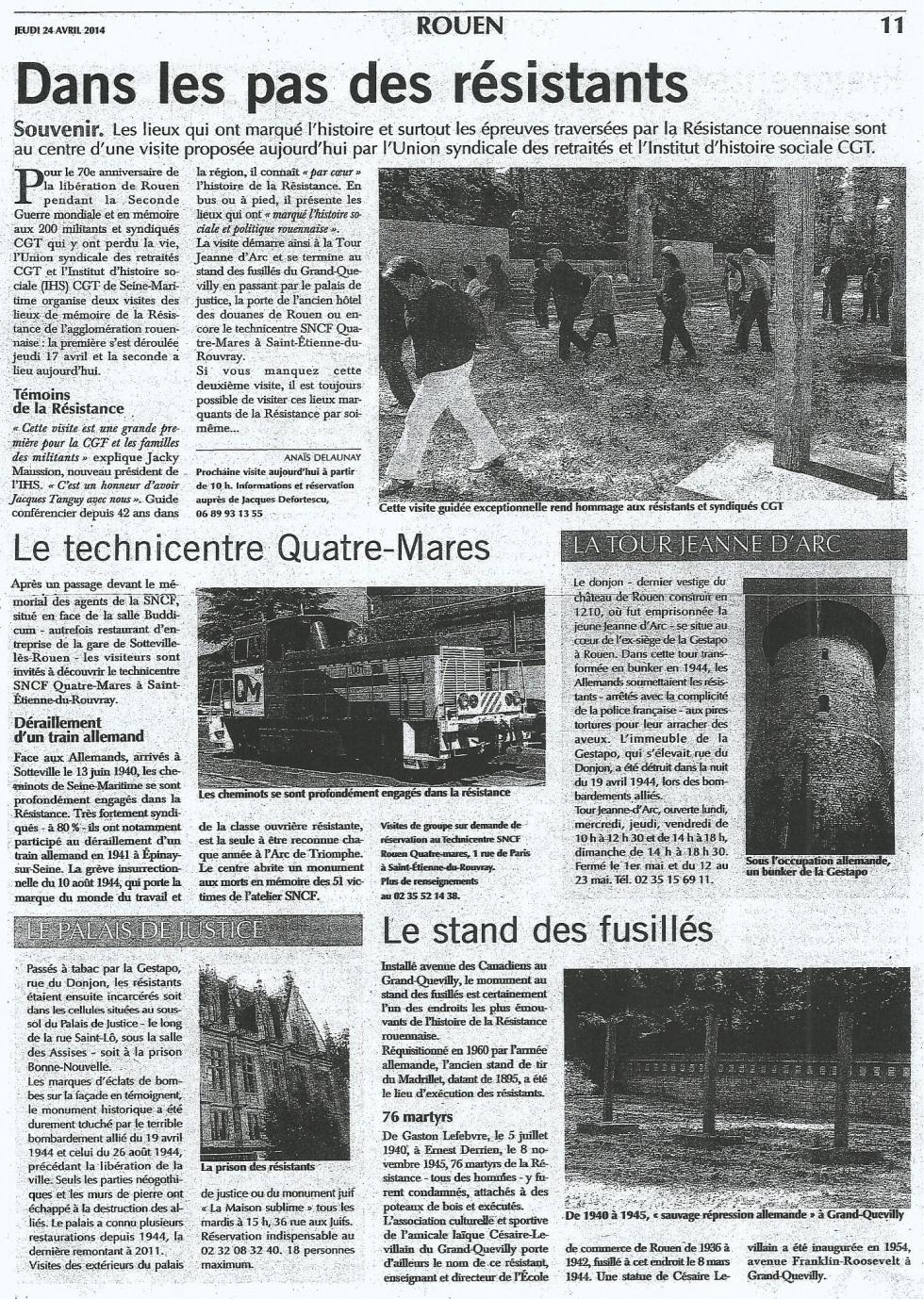 PARIS – NORMANDIE du 24 avril
