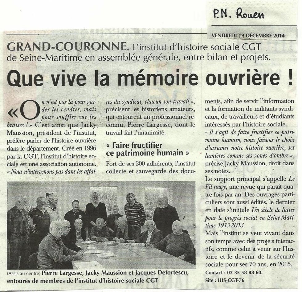 Que vive la mémoire ouvrière dans Paris-Normandie-Rouen.