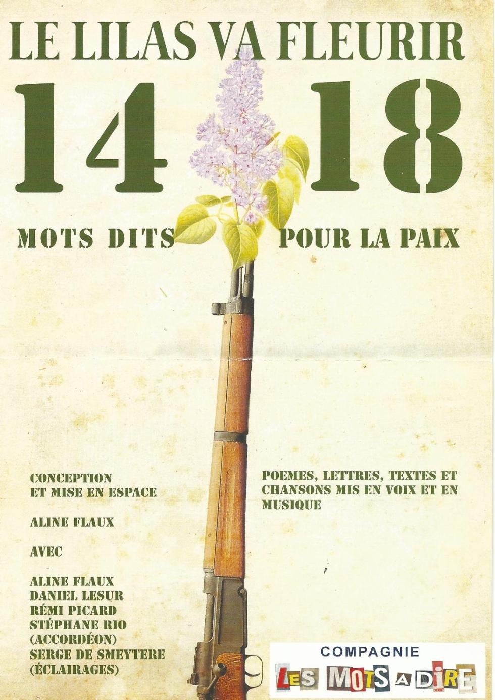 LE LILAS VA FLEURIR- 14/18 -MOTS DITS POUR LA PAIX