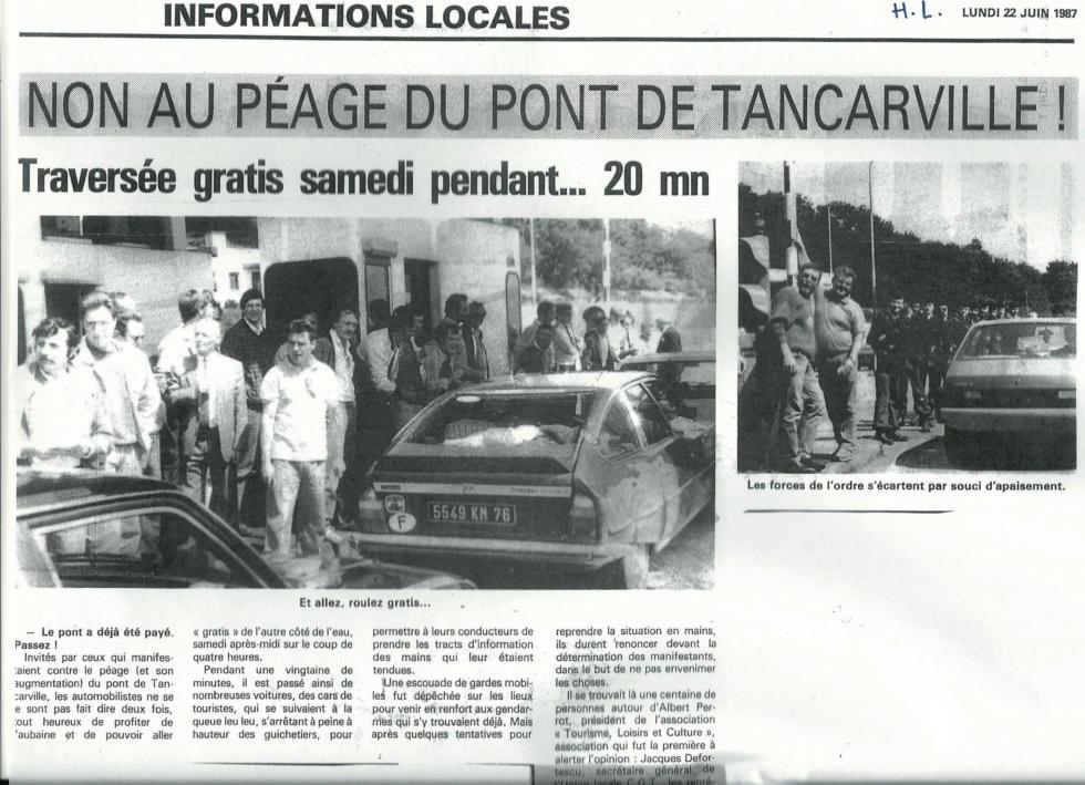 Tancarville, le péage du pont, objet de tant d'actions syndicales,  passe à 2.60€!