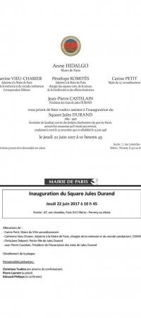 Jeudi 22 juin, inauguration du square Jules DURAND à Paris à 10 h 45