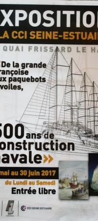 JUSQU'AU 30 JUIN PROCHAIN- A LA CHAMBRE DE COMMERCE DU HAVRE – Exposition de la Grande Françoise- aux paquebots à voiles – 500 ans de construction navale au Havre!