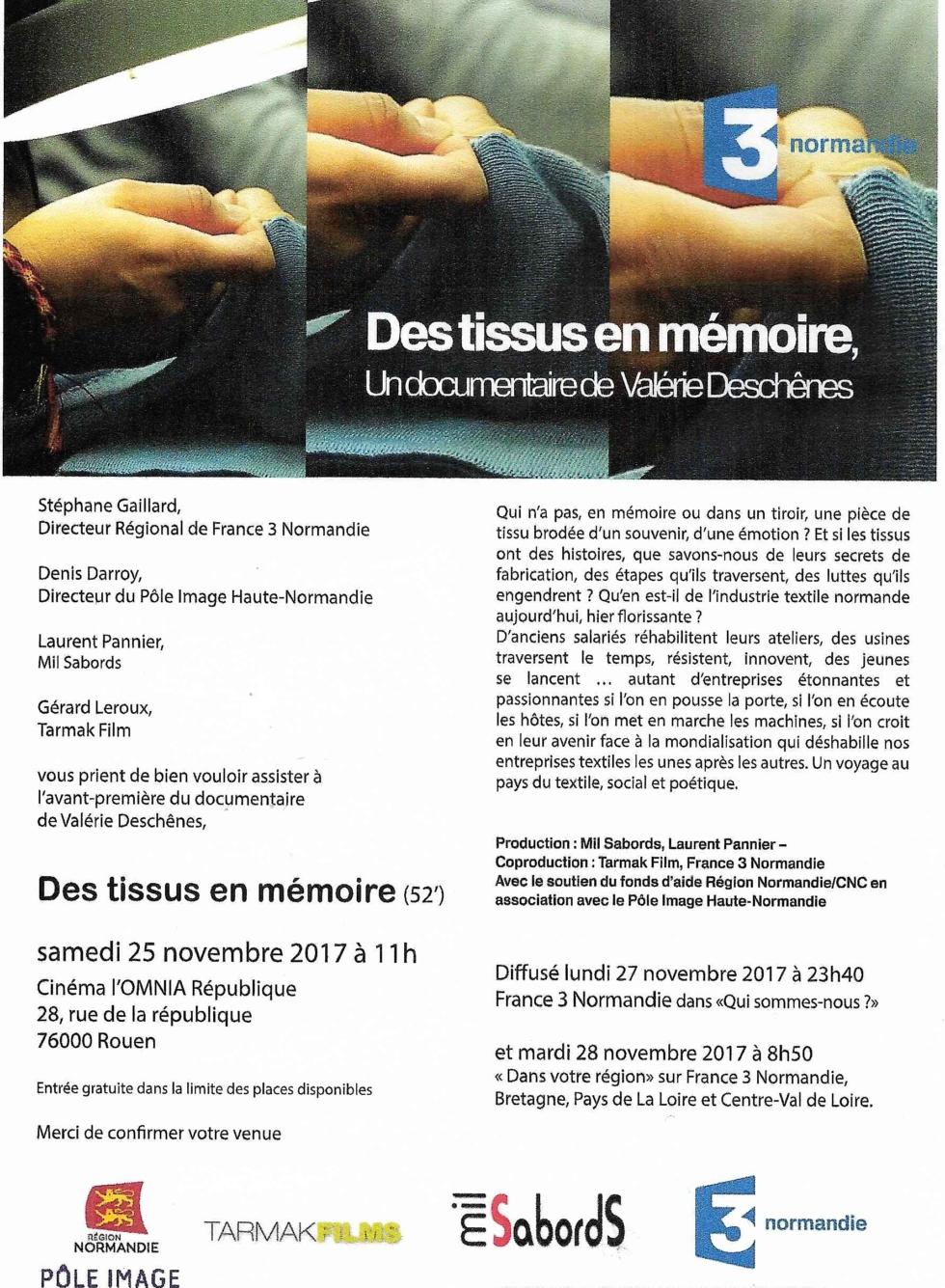 DES TISSUS EN MÉMOIRE -Un documentaire de Valérie Deschênes