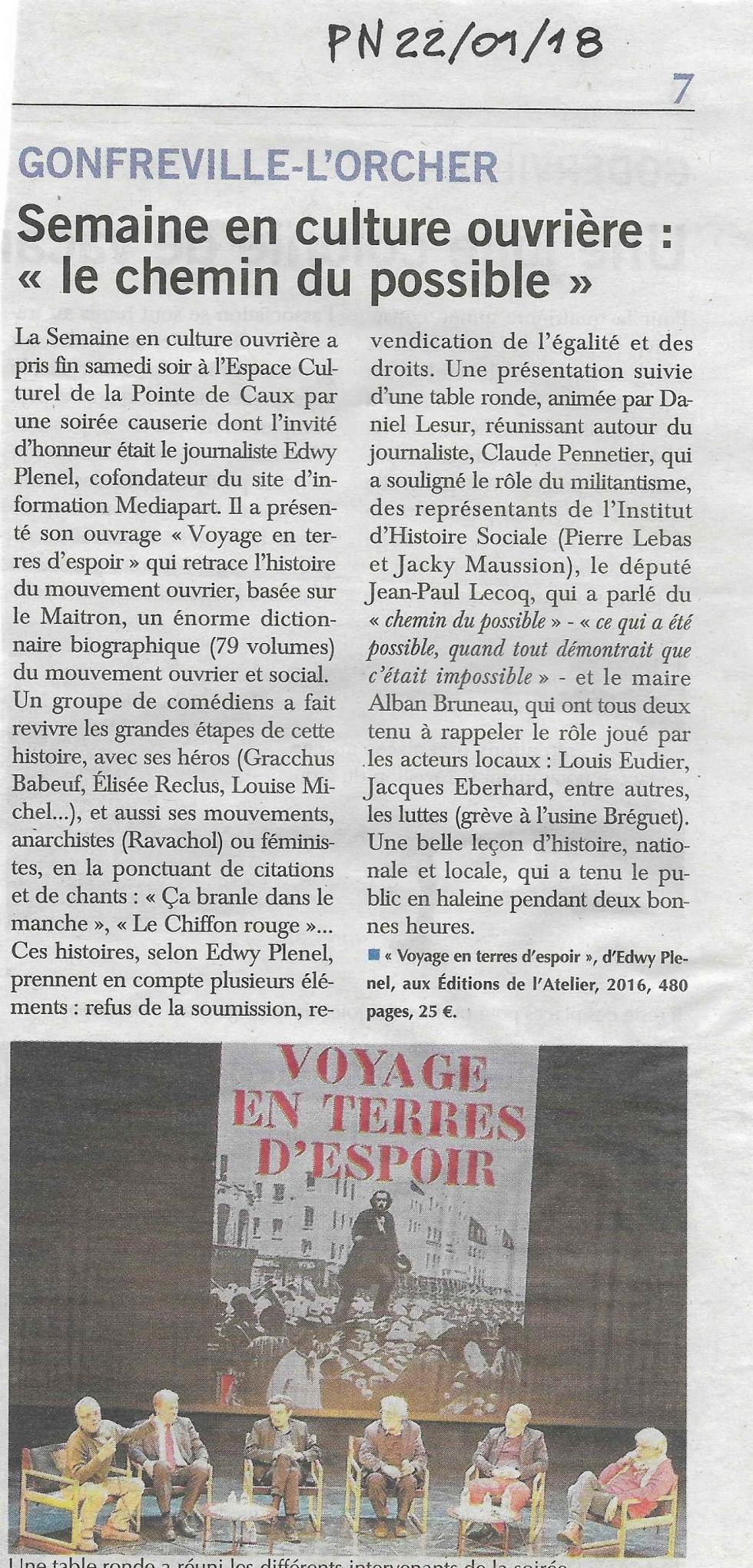 Voyage en terres d' espoir à Gonfreville l'Orcher avec Edwy Plenel et Claude Pennetier .