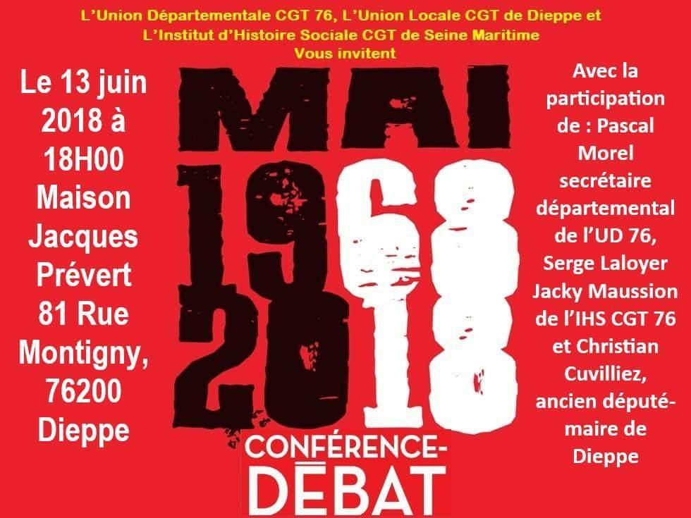 Conférence/débat à Dieppe, le 13 juin 2018 à 18h.