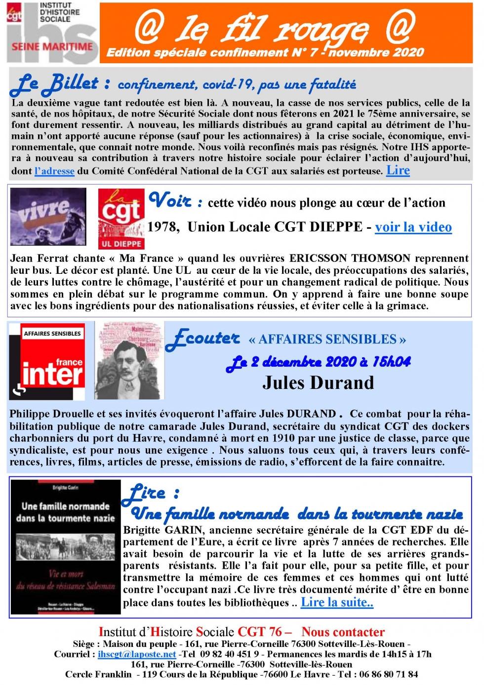 @le fil rouge@ édition spéciale confinement n° 7 – Novembre 2020