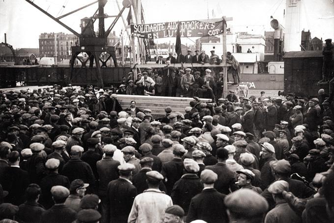 Manifestation des dockers de Rouen.